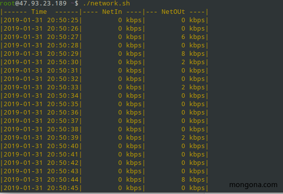 shell脚本 监控网络流量